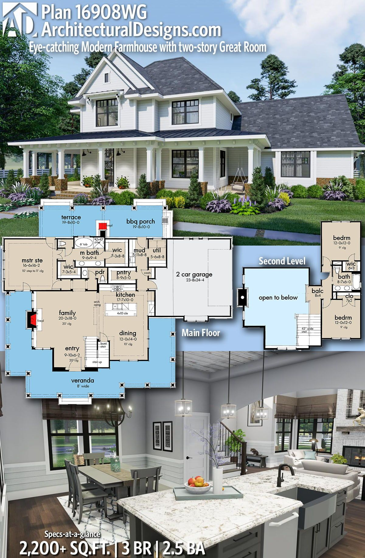 Plan 16908wg Eye Catching Modern Farmhouse With Two Story Great Room Modern Farmhouse Plans Farmhouse Plans Architectural Design House Plans