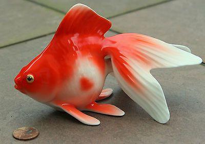 Vintage-Noritake-Toki-Bone-China-Koi-Fish-Goldfish-Figure-Nippon-Orig-Foil-WOW