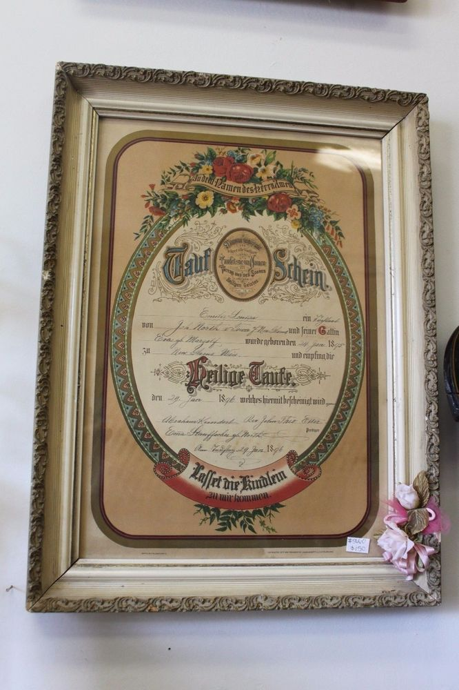 antique 1800 s german baptism certificate framed math 28 19 lauer