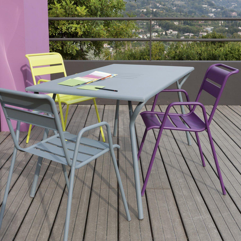 table de jardin fermob monceau rectangulaire gris orage 6 personnes leroy merlin - Table Pliante De Jardin Leroy Merlin