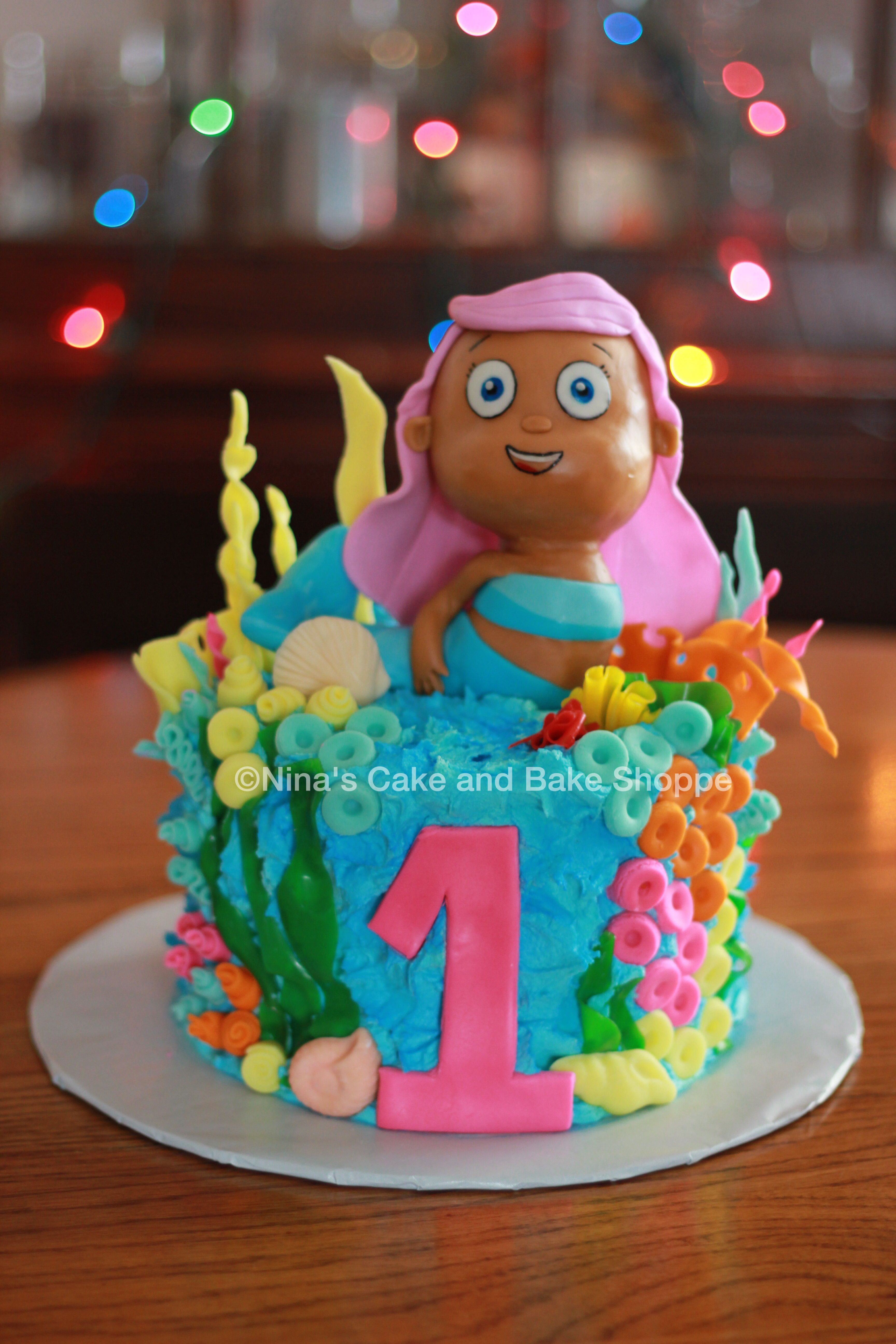 Bubble Guppies Molly first birthday cake Ninas Cake and Bake