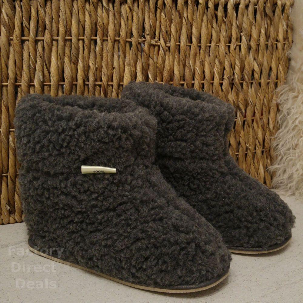 100 Sheep Wool Boots Cozy Foot Slippers Hard Sole Sheepskin Womens Mens  Grey