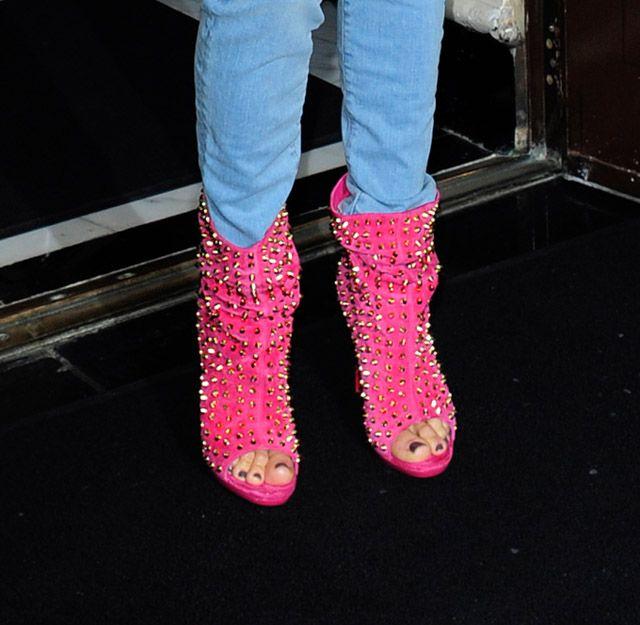Jennifer Lopez wears pink Christian Louboutin Guerilla Studded Booties (1)