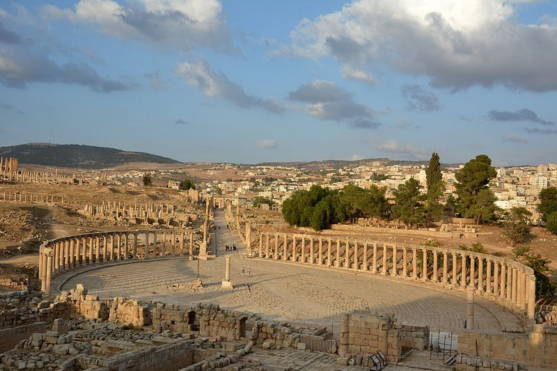 Jerash is the site of the ruins of the Oval Forum and Cardo