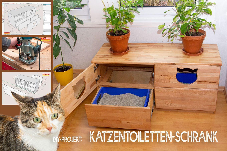 Katzentoiletten Schrank Aus Buche Leimholz Bauen Katzen Katzenschrank Diy Katzen Toilette Katzentoilette Selber Bauen