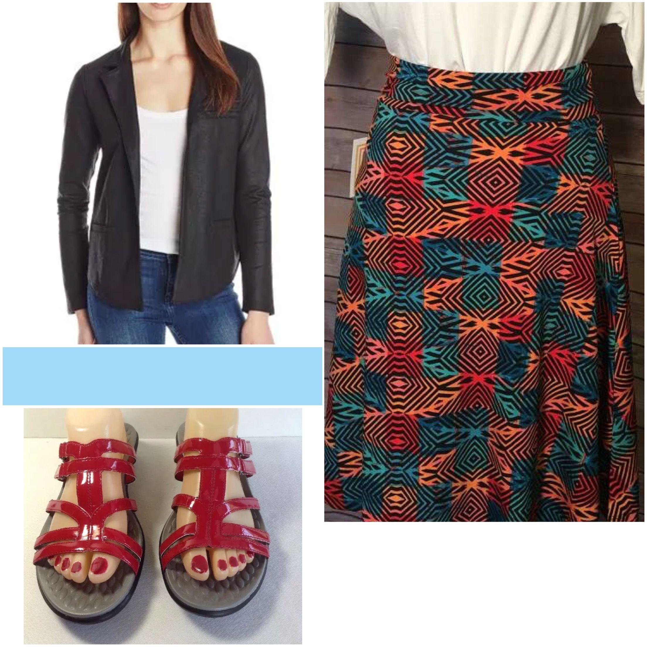 Lucky Brand blazer, Lularoe Azure and Berry sandals