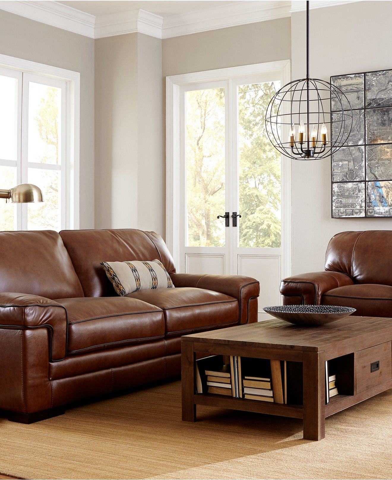 Myars Leather Sofa Collection Furniture Macy s