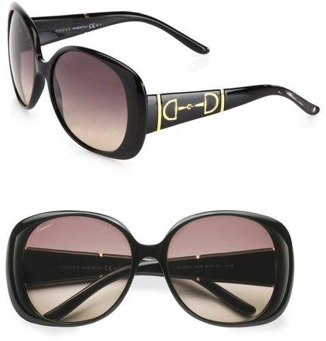 GUCCI  Horsebit Accented Plastic Oval Sunglasses