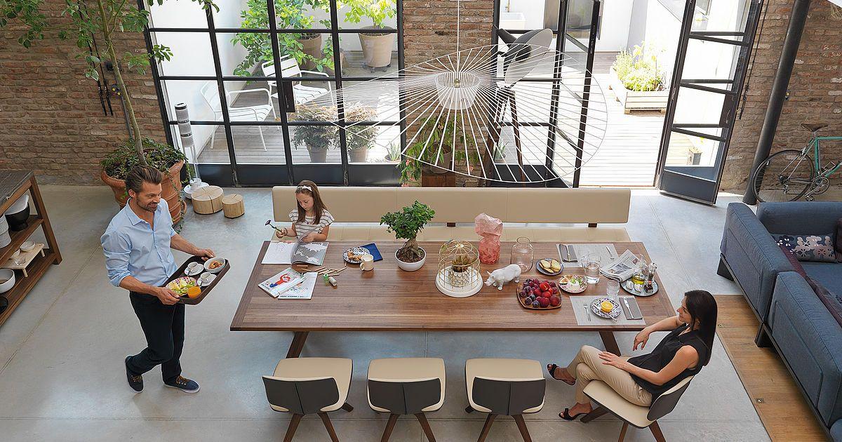 loft solid wood in walnut with yps table und aye chairs with - team 7 küchen abverkauf