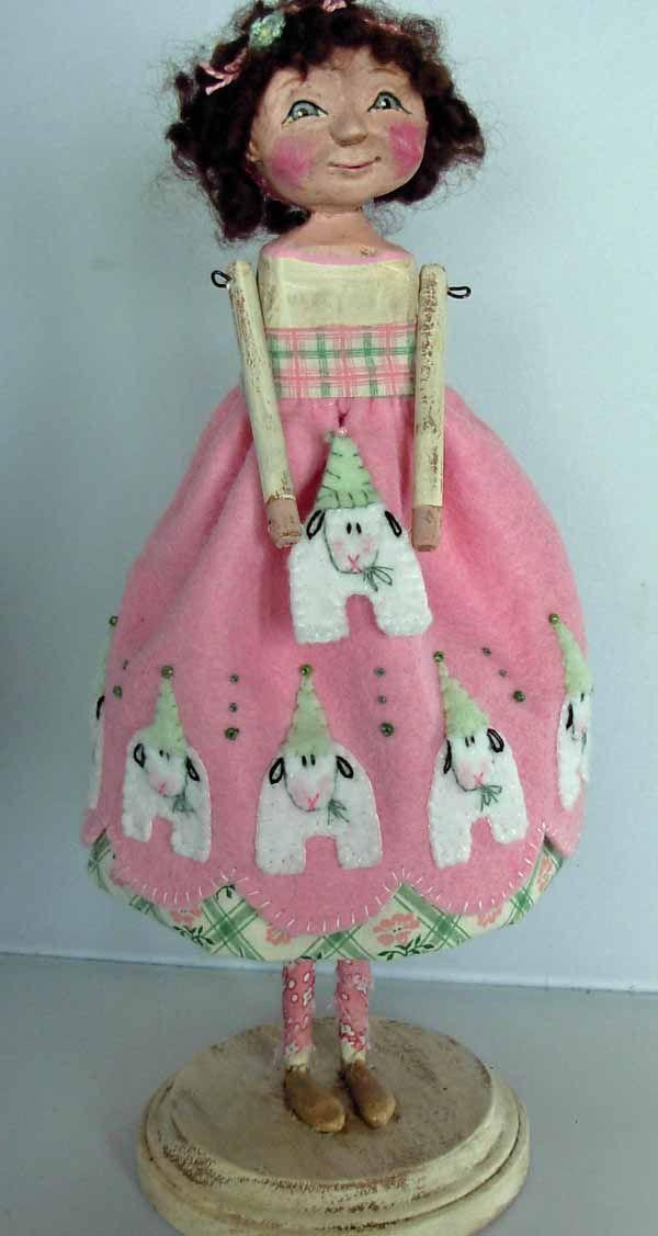 Easter Folk Art Doll with Sheep >BOY HOWDIE PAPIER MACHE FOLK ART by Dawn Tubbs