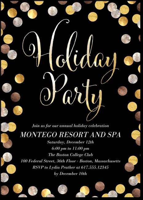 Silver And Gold Confetti  Holiday Bahsh Invite