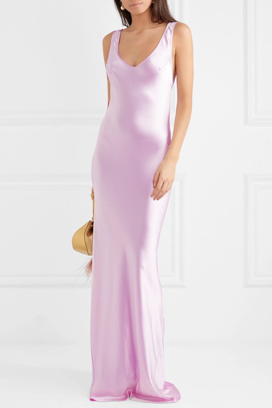 Valetta Silk-satin Maxi Dress - Lilac Galvan