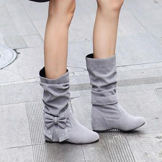 Bow-Accent Shirred Boots