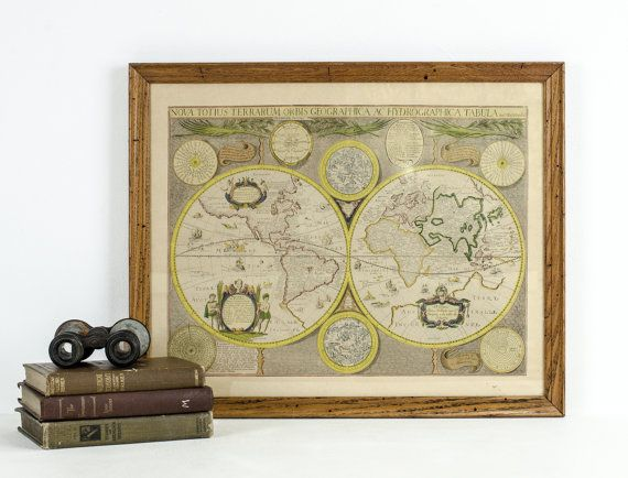 Vintage framed old world map print 1960s vintage framed old world map print 1960s by tawneyvintage on etsy 3800 gumiabroncs Image collections
