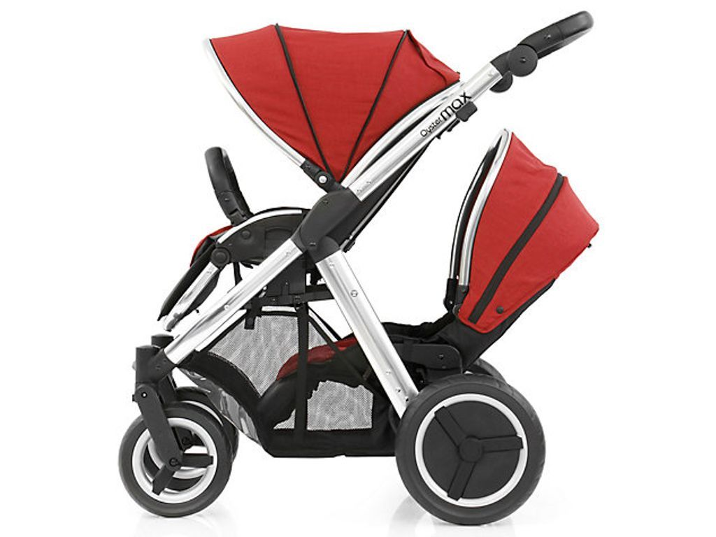 Oyster Max Lie Flat Seat Babystyle Oyster Max 2 Tandem Pushchair Colour Pack Red