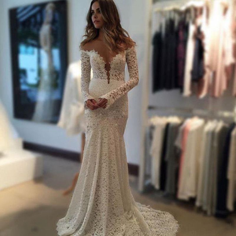 MZY0207 Sexy Off Shoulder Berta Lace Backless Long Sleeve Boho ...