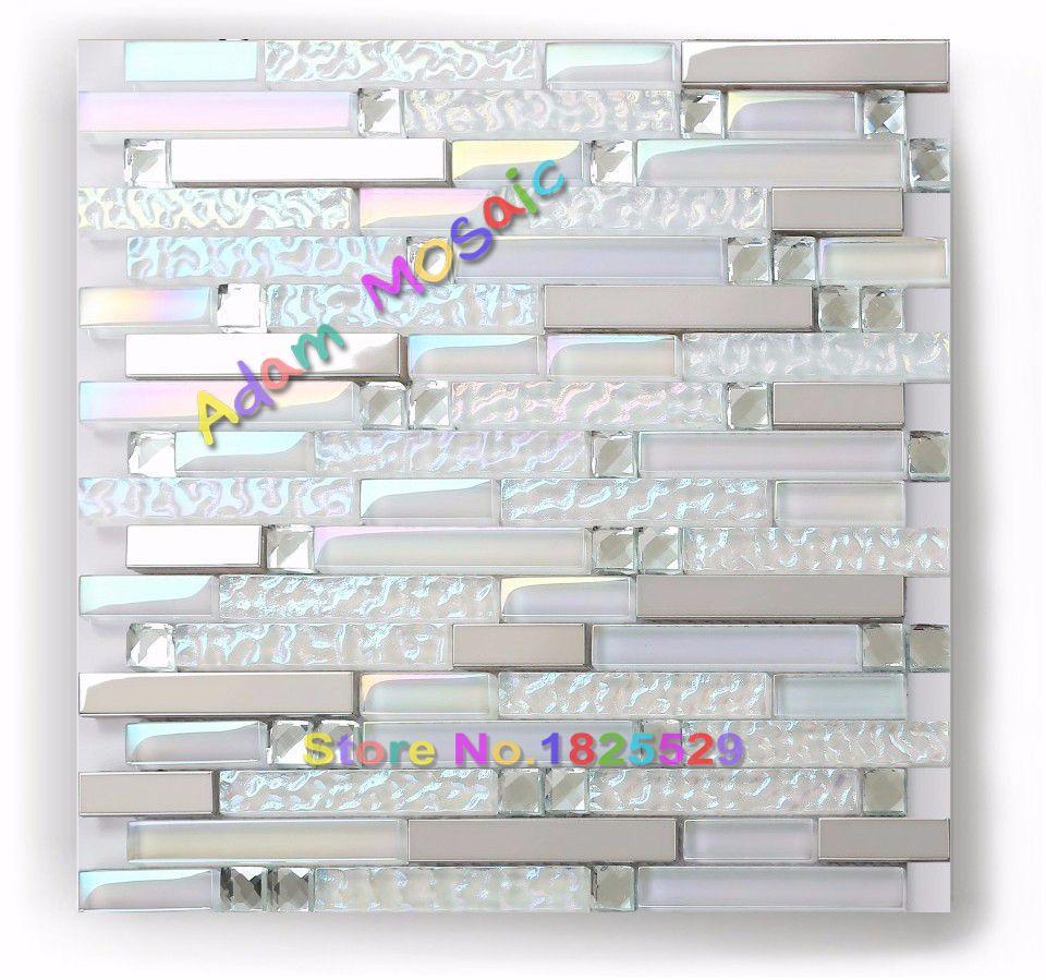Iridescent super white glass tile kitchen backsplash bath shower wall floor deco subway ideas interior also mosaic back splash in an all with