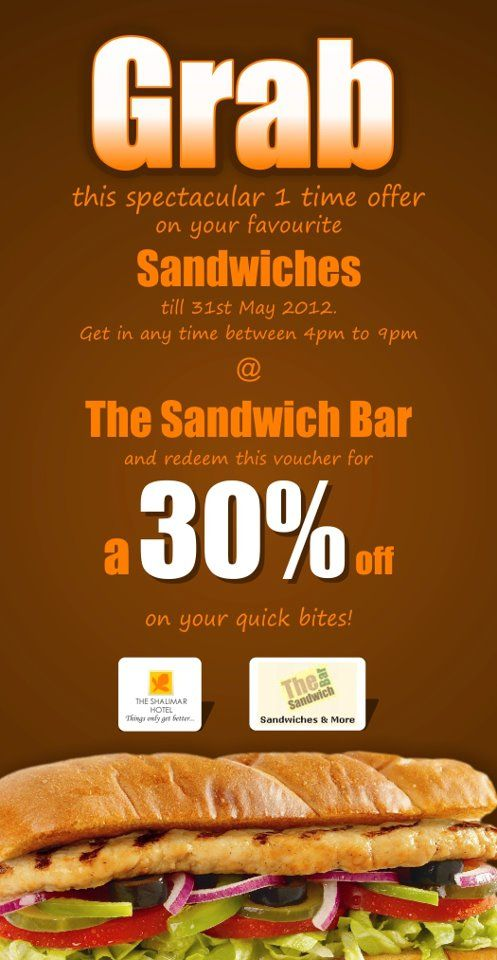 If you haven't yet tried the yummy sandwiches at The Sandwich Bar, we have a spectacular one time offer for you. Click http://tinyurl.com/cl4zguy to get your coupon now!!
