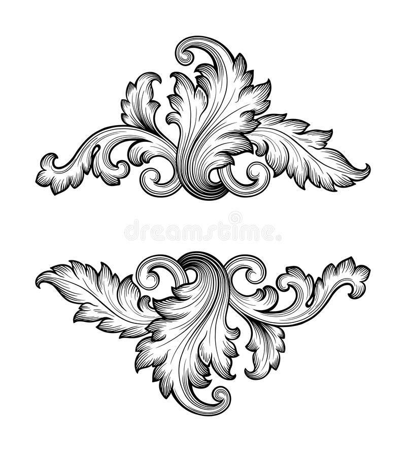 Vintage Baroque Frame Scroll Ornament Vector Stock Vektorgrafik Illustration Von Gedeihen In 2020 Baroque Frames Ornament Drawing Baroque Ornament