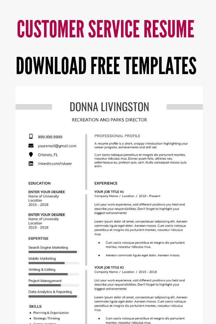 free customer service resume templates Free resume