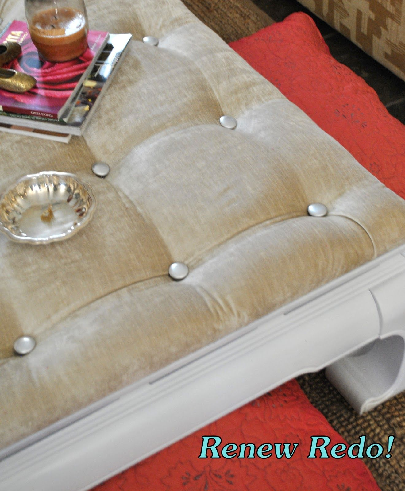 Tufting with a staple gun ReNew ReDo Asian Style Coffee Table