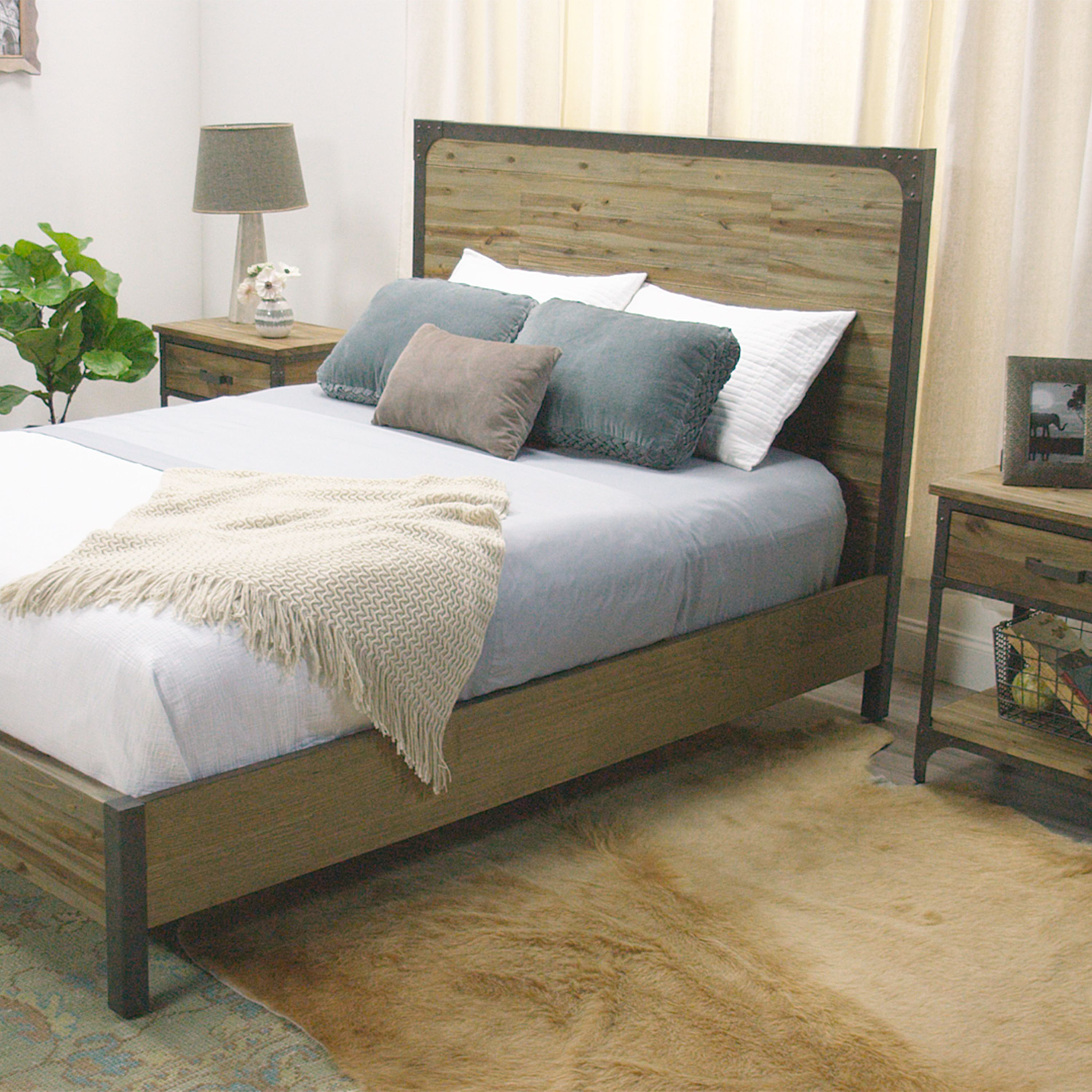 world market bedroom furniture. Combining rustic wood construction with metal accents  our bed is an industrial inspired bedroom Wood and Metal Aiden Bed Rustic Nightstands