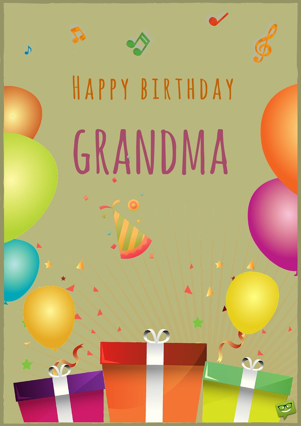 Happy Birthday Card For Grandma With Image Of Balloons And Gifts Wishes Expert