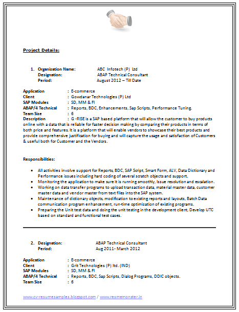 B Tech Resume Format Page 2 Career Resume Format
