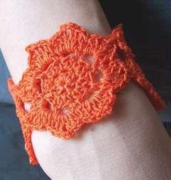Crocheted Lotus Flower Bracelet Or Cuff Crochet Crochet Crochet