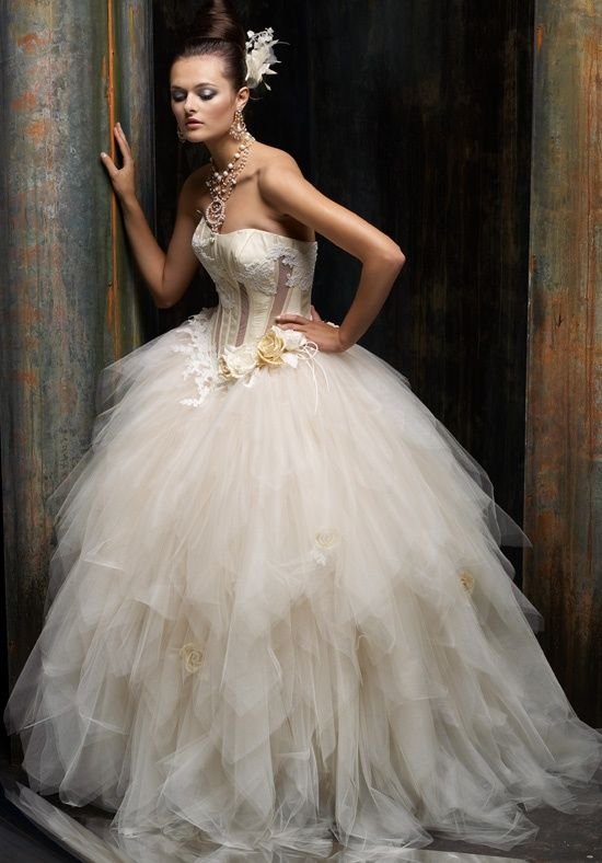 Gown Features Corset Bodice With Boning Lace And Handkerchief Skirt