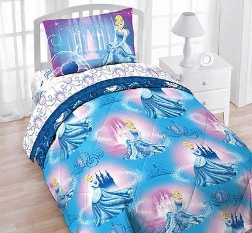 4 Pieces Disney Cinderella Twin Comforter Sheets Bedding Set By