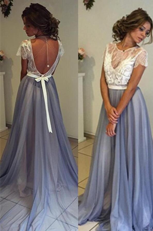 Sexy Mermaid Prom Dress,Lavender Cap Sleeve V Back Long Prom Dress ...