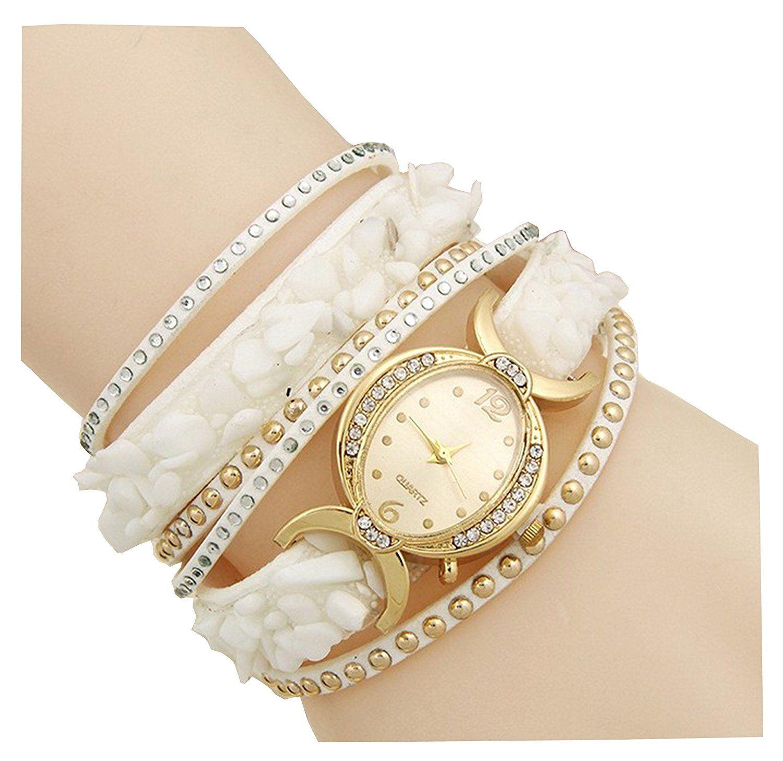 c3c84ca00b2 74% off )AELO Multiband White Bracelet Watch For Girls   Women ...