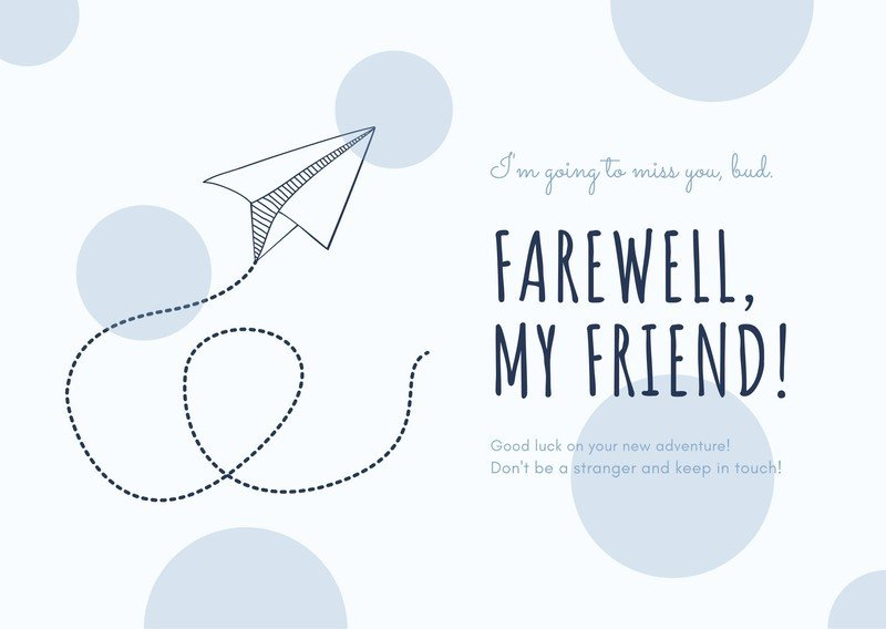 Free Printable Farewell Card Templates To Personalize Intended For Goodbye Card Template Daily Templat In 2021 Farewell Invitation Card Farewell Cards Card Template