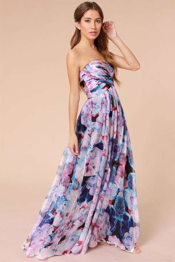 Bariano special effects purple floral print maxi dress at for Purple maxi dresses for weddings