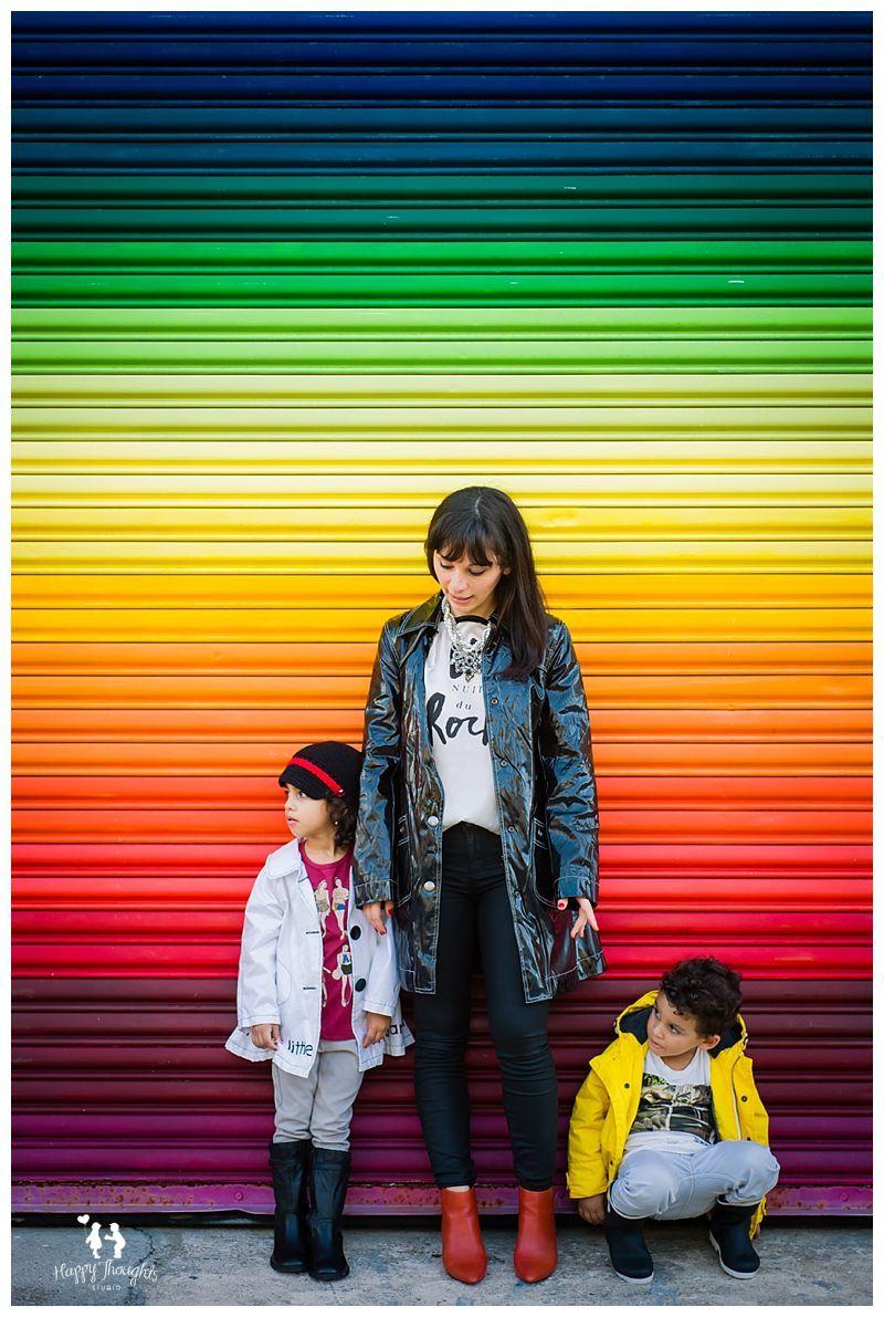 Family, children photography idea using a rainbow wall | Happy ...