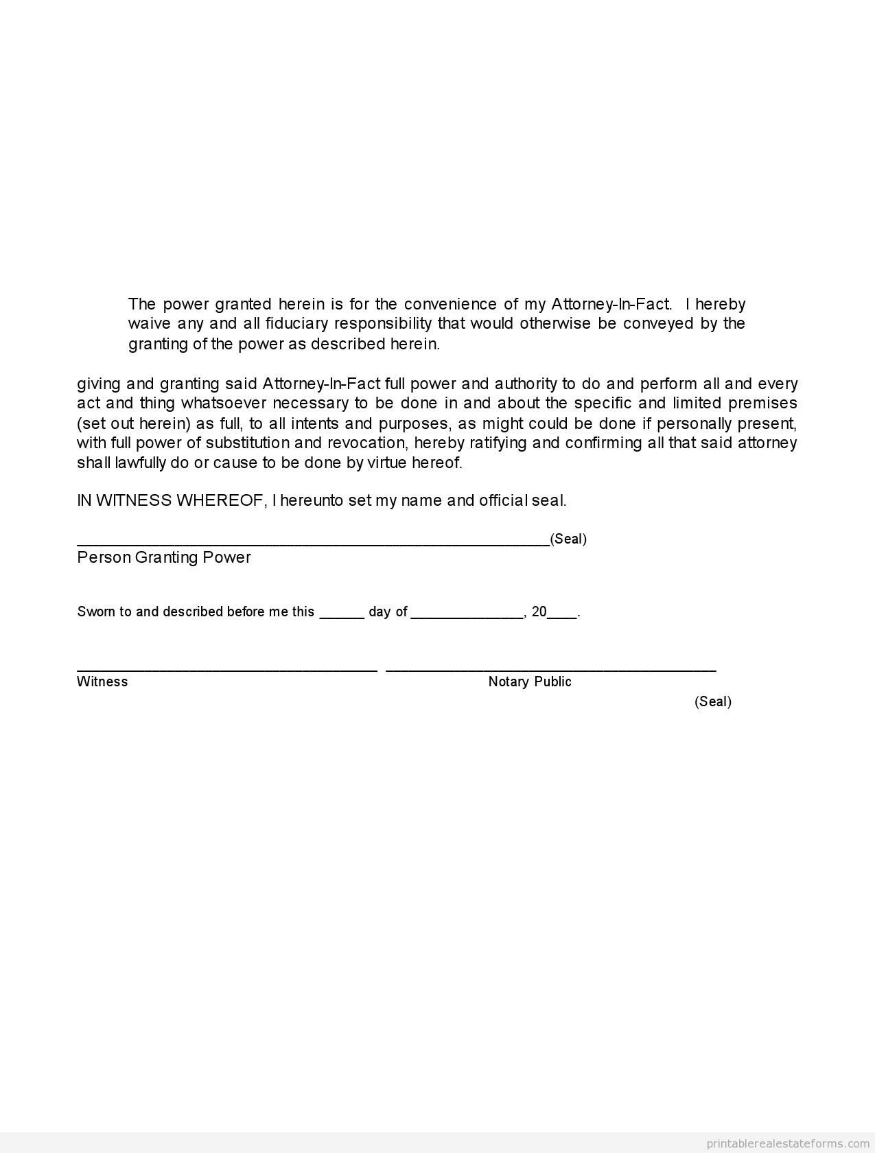 Sample Limited Power Of Attorney Form | Sample Printable Limited Power Of Attorney Form Sample Real Estate