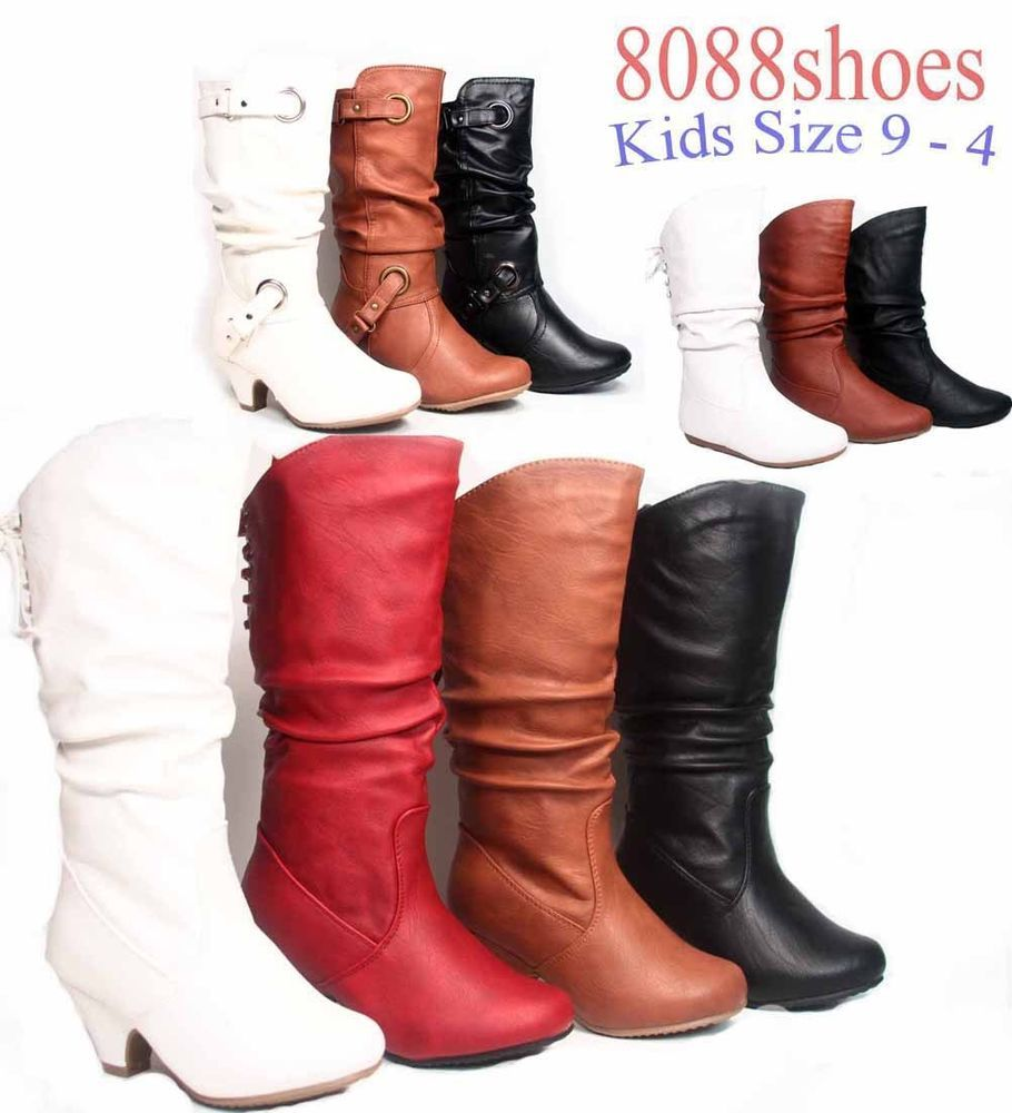 size 9-4 black Girls Link zipper riding fashion boots