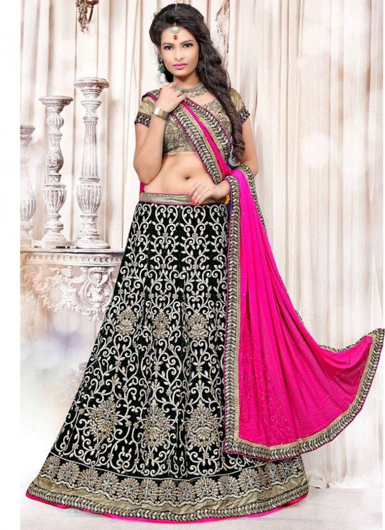 Velvet Hot Pink and Black Embroidered Reception wear Lehenga choli