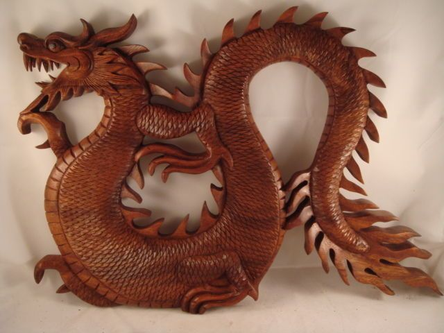 Quot bali hand carved suar wood dragon relief wall panel