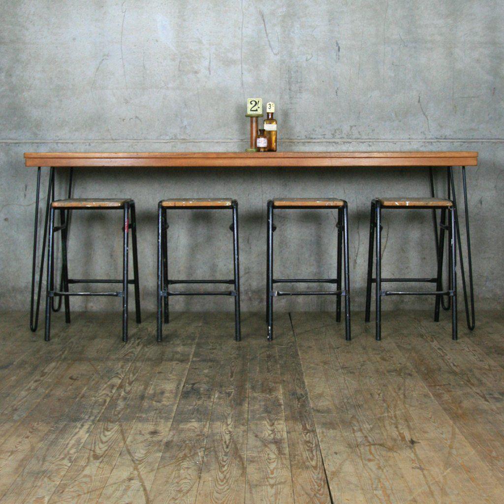 New Reclaimed Teak Breakfast Bar Height Table With Hairpin Legs Bar Height Table Breakfast Bar Table Bar Height