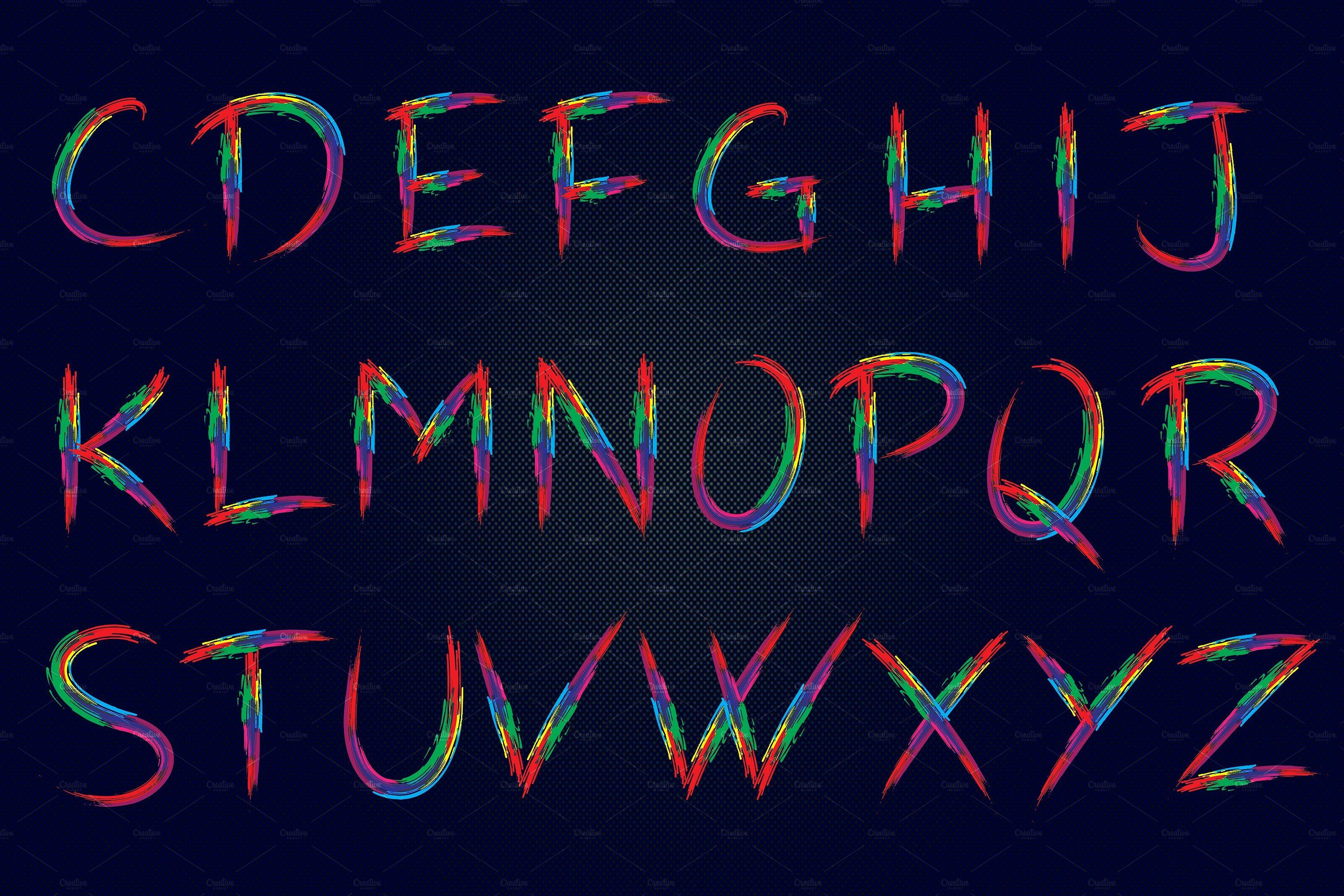 Colorful Brushy Font Rainbow Font 2 Upper and lowercase