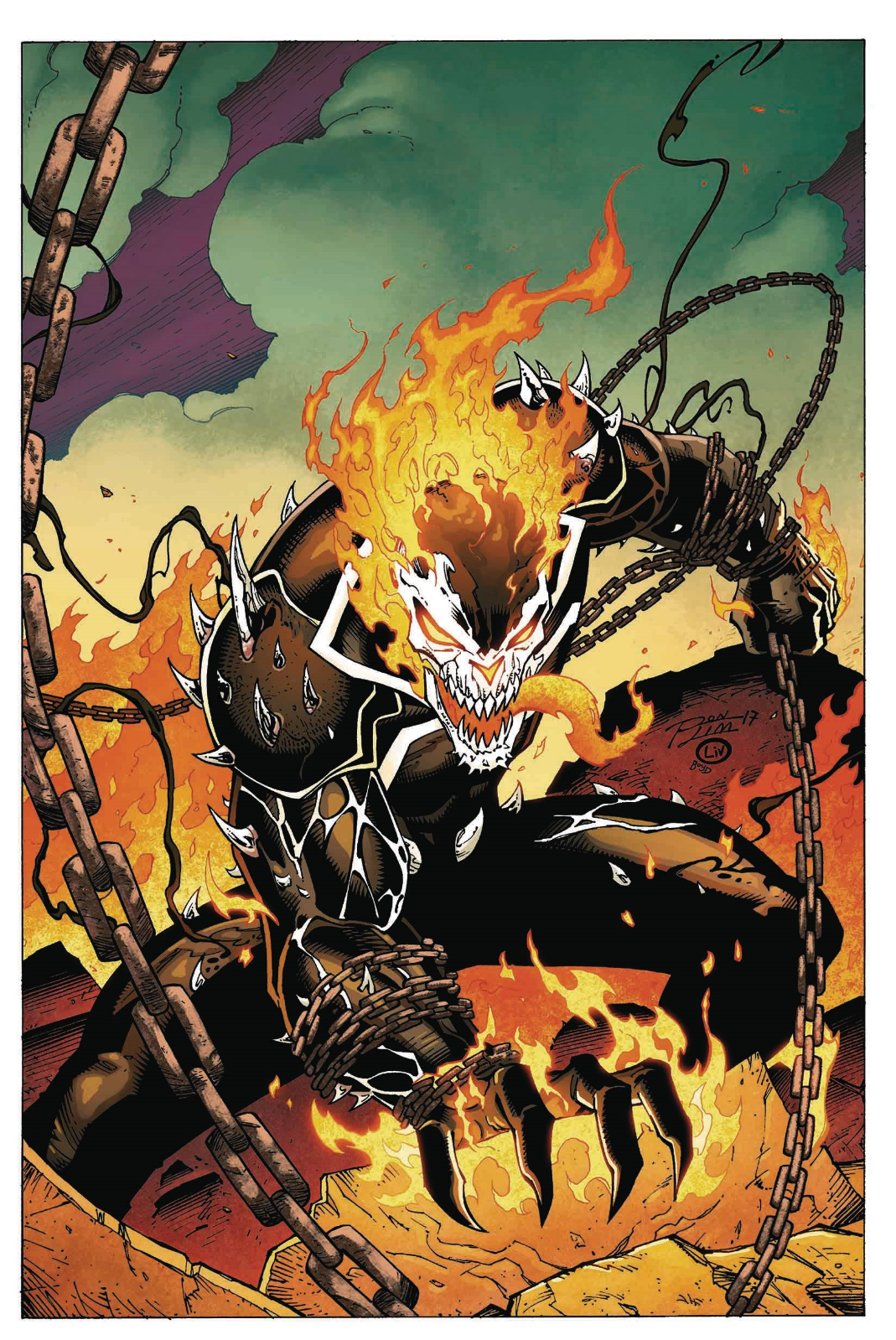 EDGE OF VENOMVERSE 3 RON LIM VENOMIZED GHOST RIDER VARIANT NM