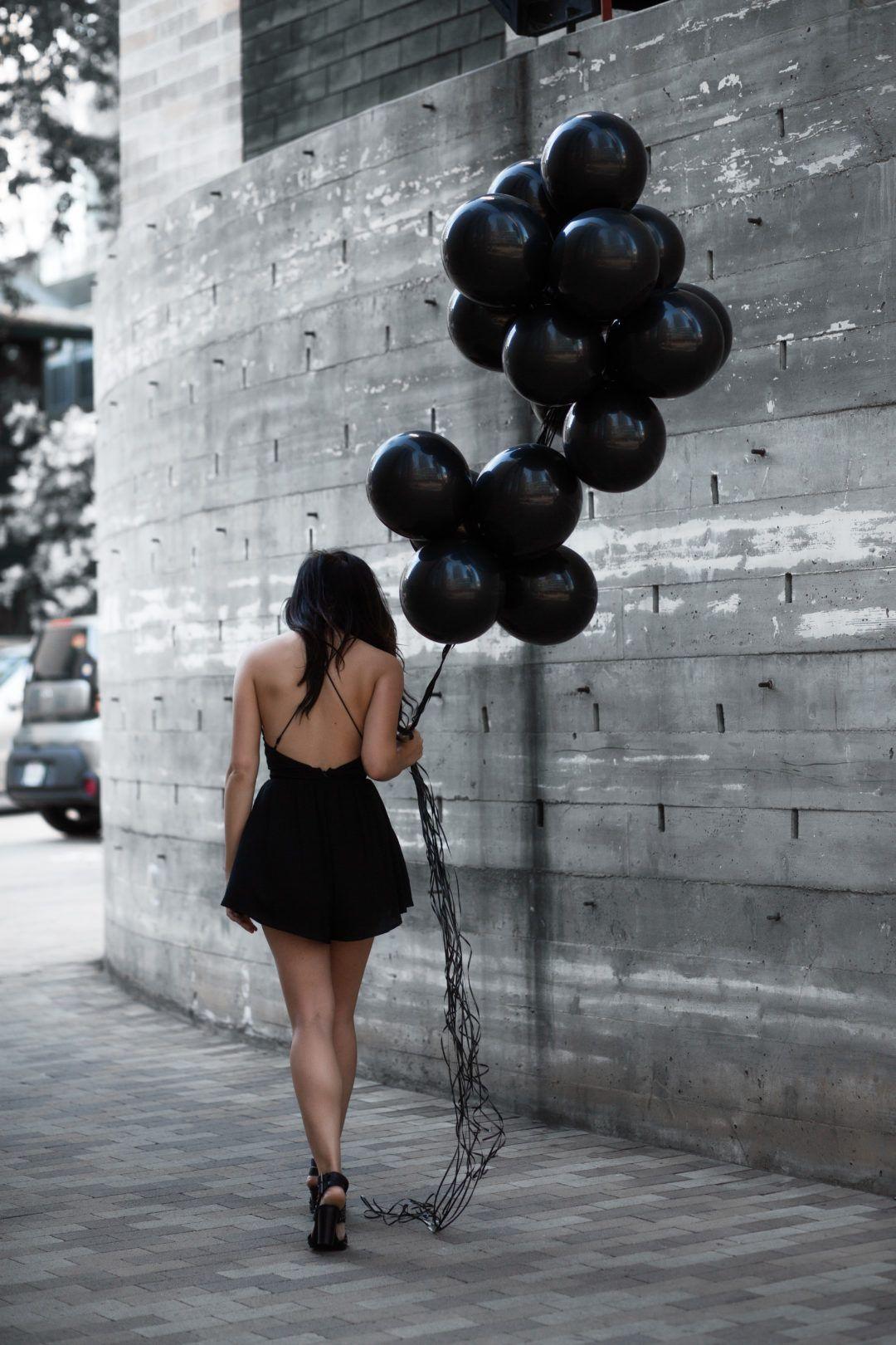 Black Balloon Photoshoot White Grey And