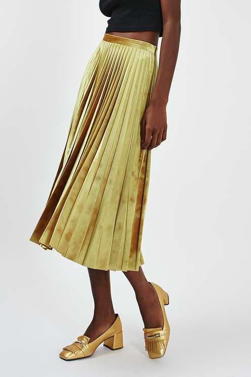 28c52ebaf Gold #velvet pleated skirt. Topshop.   Velvet Trend   Pleated midi ...