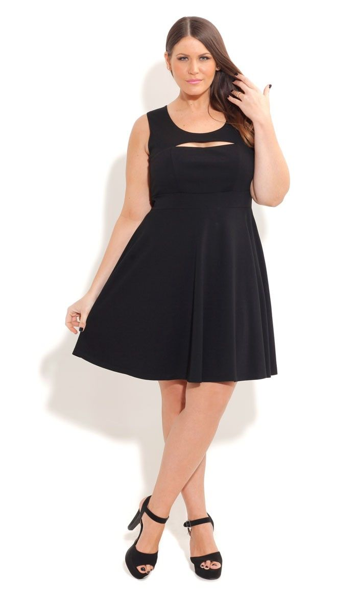 Plus size peek a boo solid skater dress comes in red too my