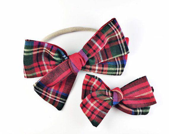 Christmas Plaid Knot Bow - Baby, Toddler, Girls Fabric Bow Headband