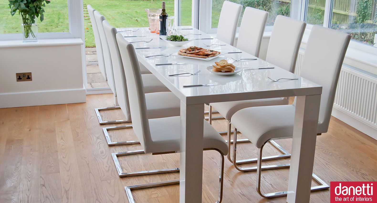 Fern White Gloss And Imola Extending Dining Set Narrow Dining Tables 10 Seater Dining Table Long Narrow Dining Table