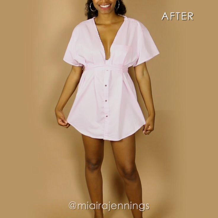 Here's how to transform a basic men's button up shirt into a cute, plunging dress with some simple sewing!  #diy #clothes #sewing #thrift #outfit #fashion #dress #tutorial