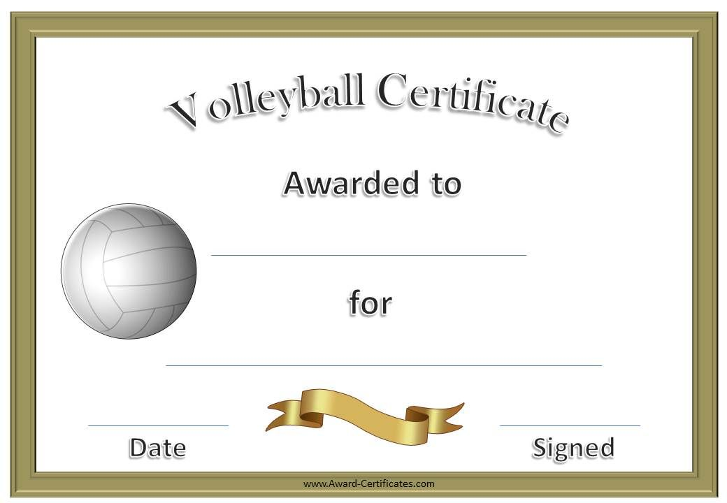 volleyball certificate template Formal Volleyball certificate in